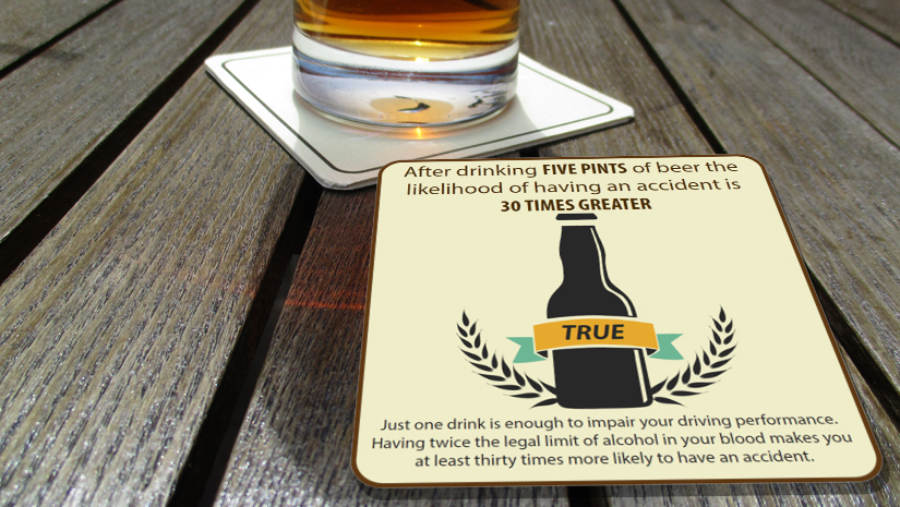 FIVE PINTS of BEER makes the chances of having an accident 30 times greater