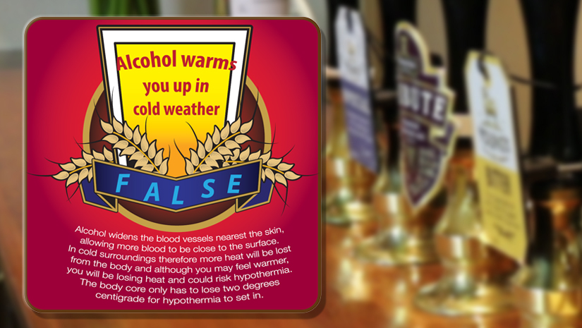 Alcohol warms you up in cold weather - FALSE