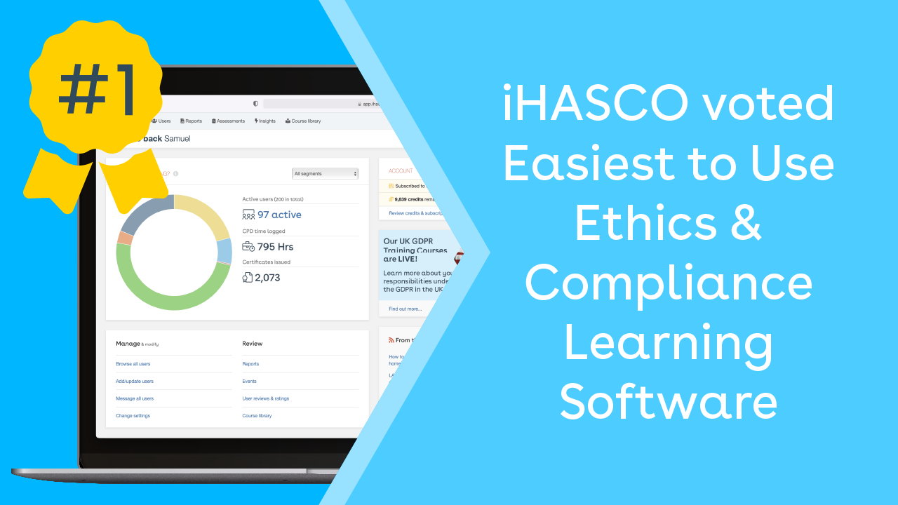 iHASCO voted Easiest to Use Ethics & Compliance Learning Software