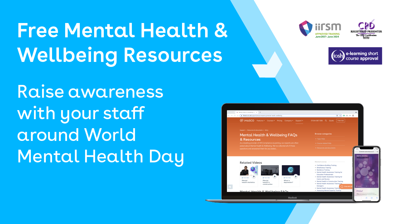 Free mental health and wellbeing resources. Raise awareness with your staff around World Mental Health Day.