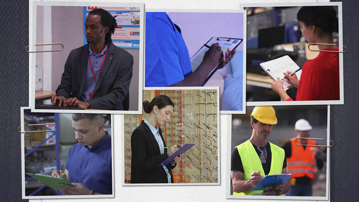 Workers from multiple industries writing risk assessments