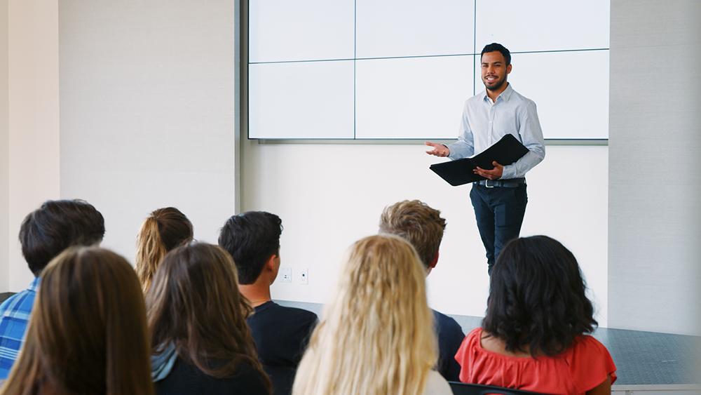 A man giving a presentation