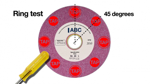 Diagram showing how to conduct a ring test as part of our abrasive wheels safety training.