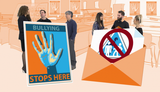 Image showing a positive work culture and an anti-bullying sign