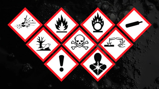 A group of warning signs for COSHH training