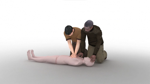 CPR being performed by two people for first aid requirements and RIDDOR