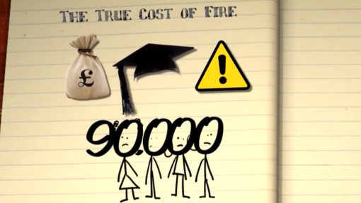 Book's page saying the true cost of fire with a money bag, a warning sign and the figure 90,000 for fire warden training in education