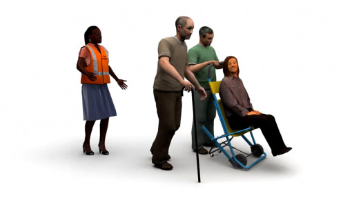 Fire Warden Training in Care. Chapter 3: Animation still showing a group of individuals evacuating a hospital environment
