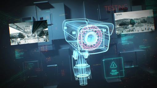 A security camera animation