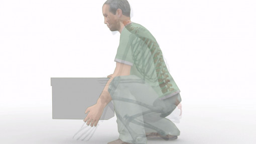 Outline of a man's body when lifting a box as part of moving and handling people training from iHasco