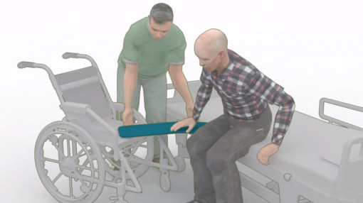 One man helping another man move from a bed into a wheelchair as part of moving and handling people