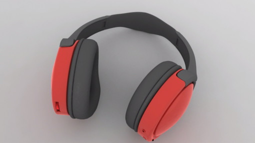A pair of red headphones to highlight hearing protection for noise awareness training