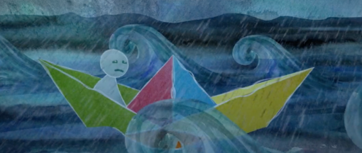 Identifying stress - An animated scene from our stress awareness training, likening stress to waves crashing on a boat.