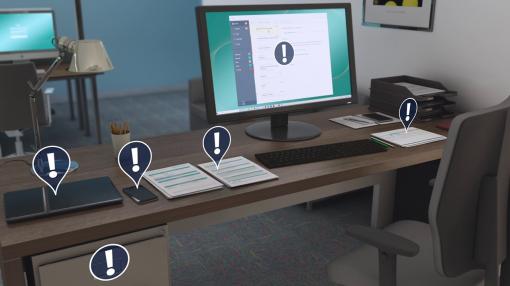 A computer desk flagging possible GDPR risks