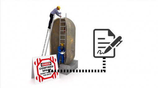 Large image of a worker working in a confined space
