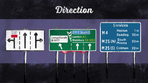 Direction signs you might see on the road