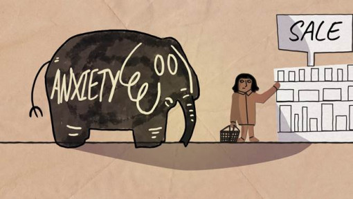 An elephant animation depicting anxiety