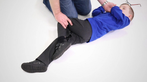 A child in the recovery position